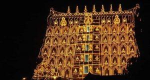 Sree Padmanabhaswamy Temple as seen during the Laksha Deepam Festival